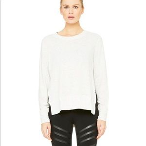 Alo Yoga Glimpse Long Sleeve Top Heathered White